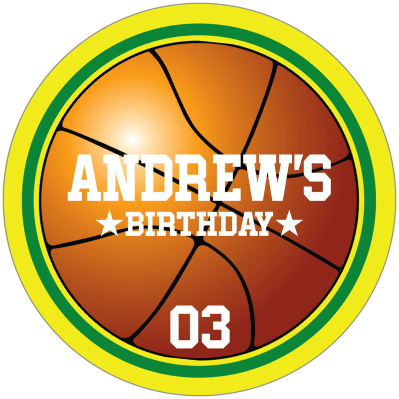 circle food/craft labels - green & yellow - basketball (set of 12)