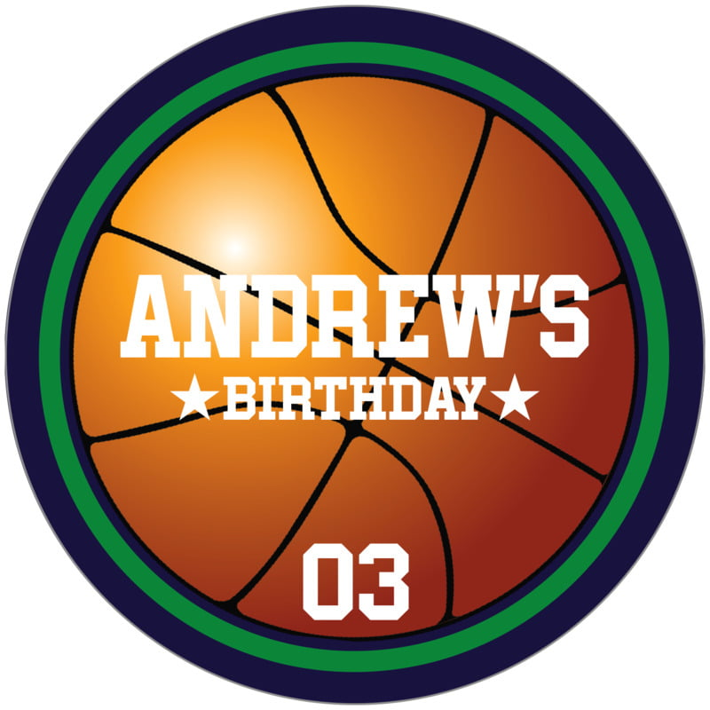 circle food/craft labels - green & navy - basketball (set of 12)