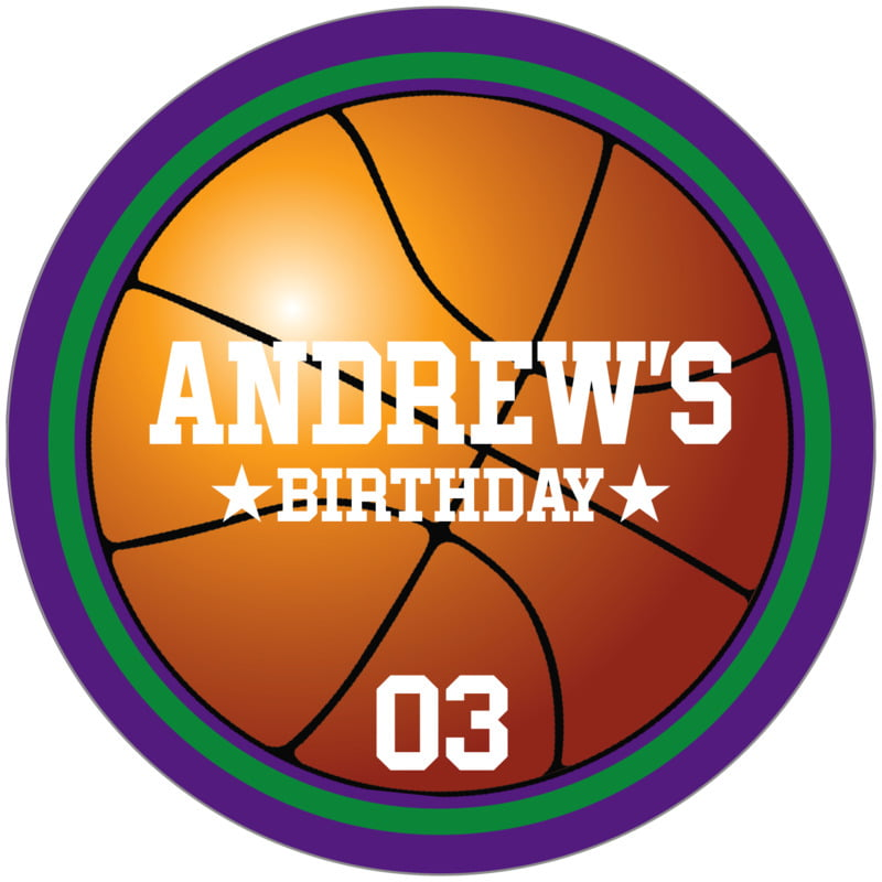 circle food/craft labels - green & purple - basketball (set of 12)