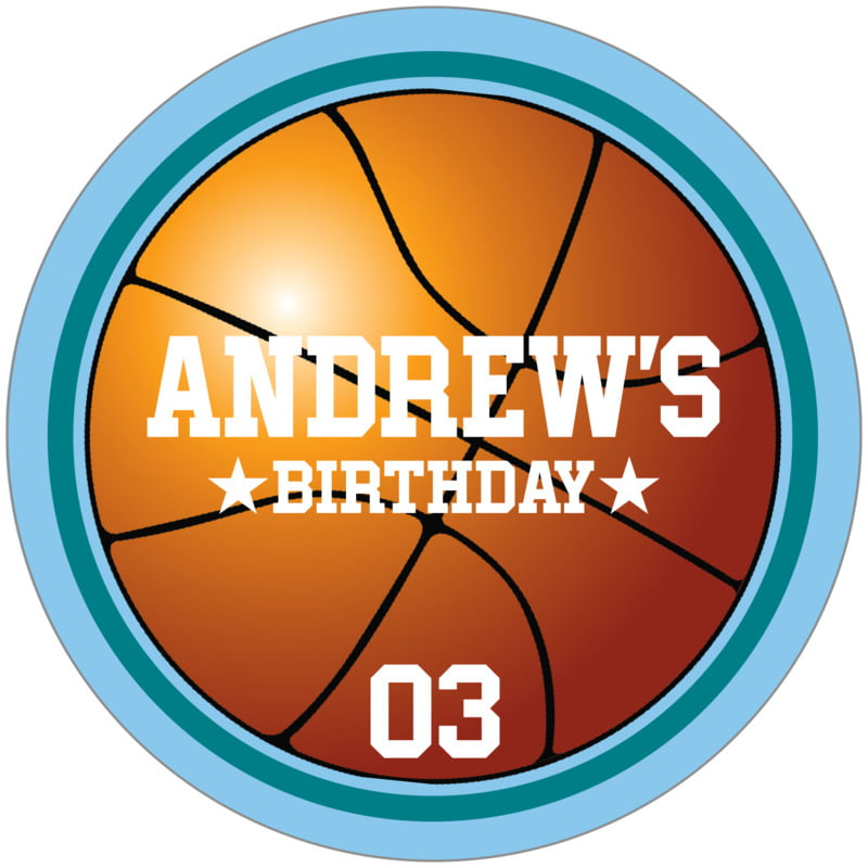circle food/craft labels - teal & light blue - basketball (set of 12)
