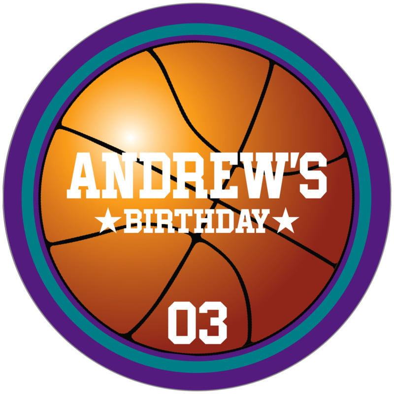 circle food/craft labels - teal & purple - basketball (set of 12)