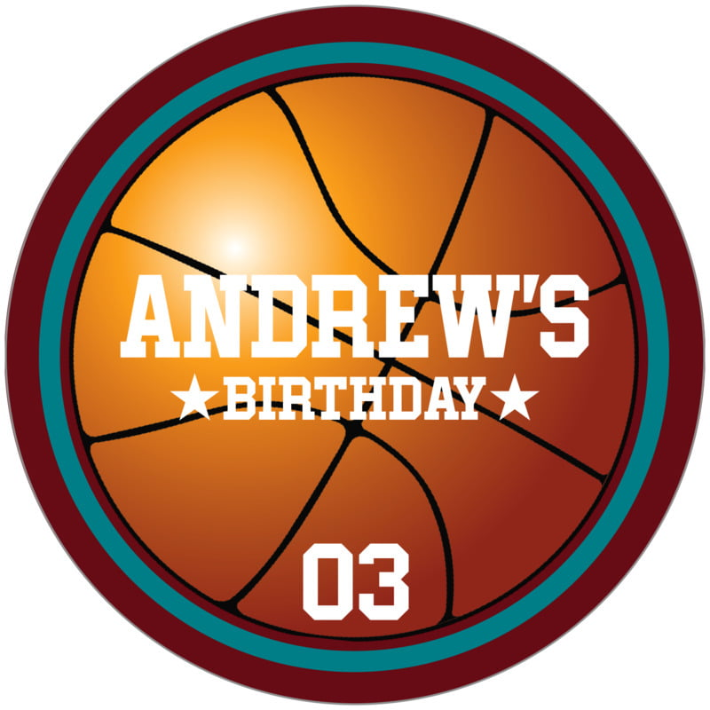 circle food/craft labels - teal & maroon - basketball (set of 12)
