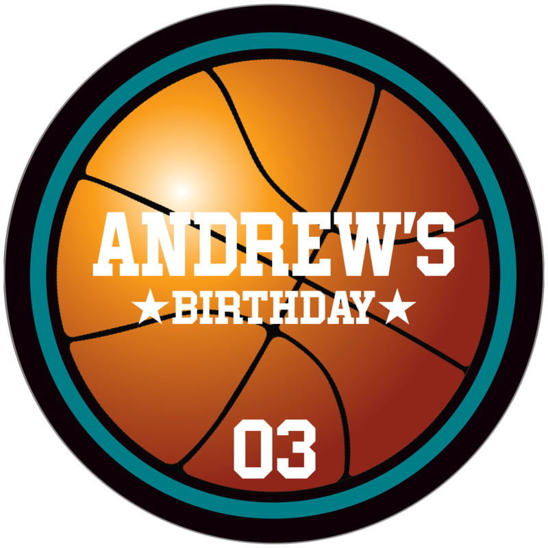 circle food/craft labels - teal & black - basketball (set of 12)