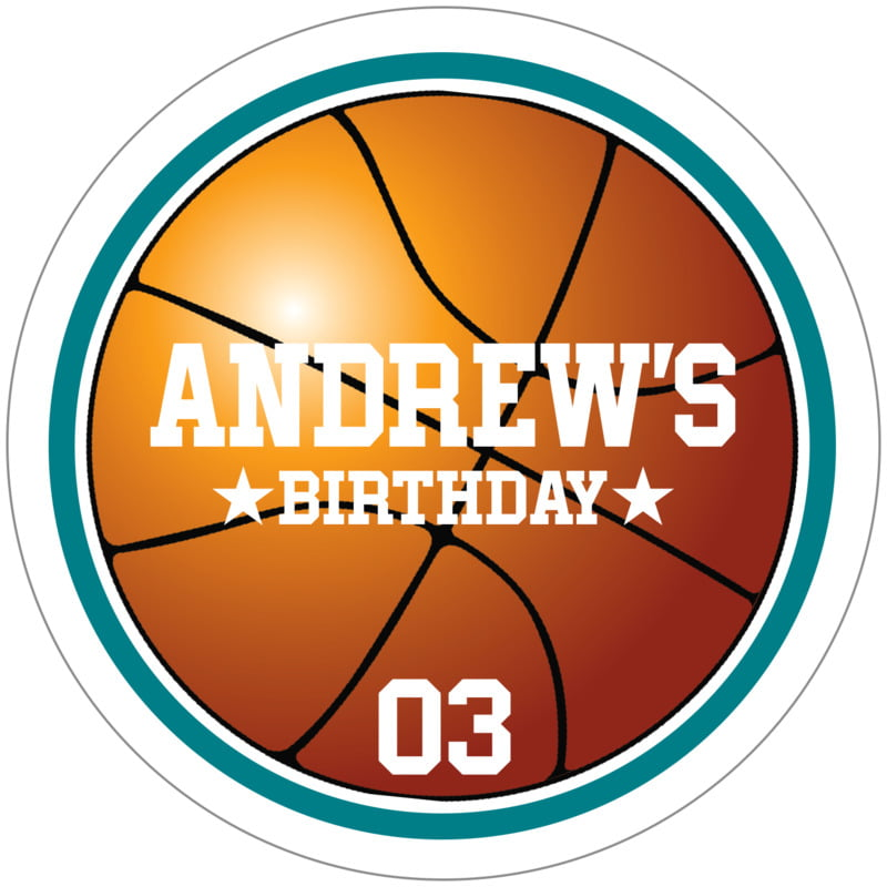 circle food/craft labels - teal & white - basketball (set of 12)