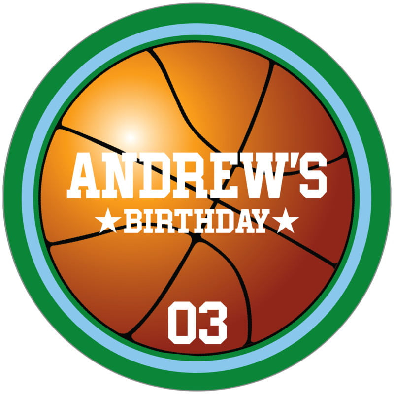circle food/craft labels - light blue & green - basketball (set of 12)