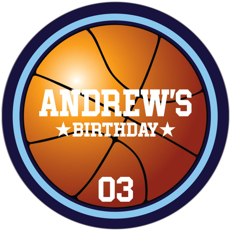 circle food/craft labels - light blue & navy - basketball (set of 12)