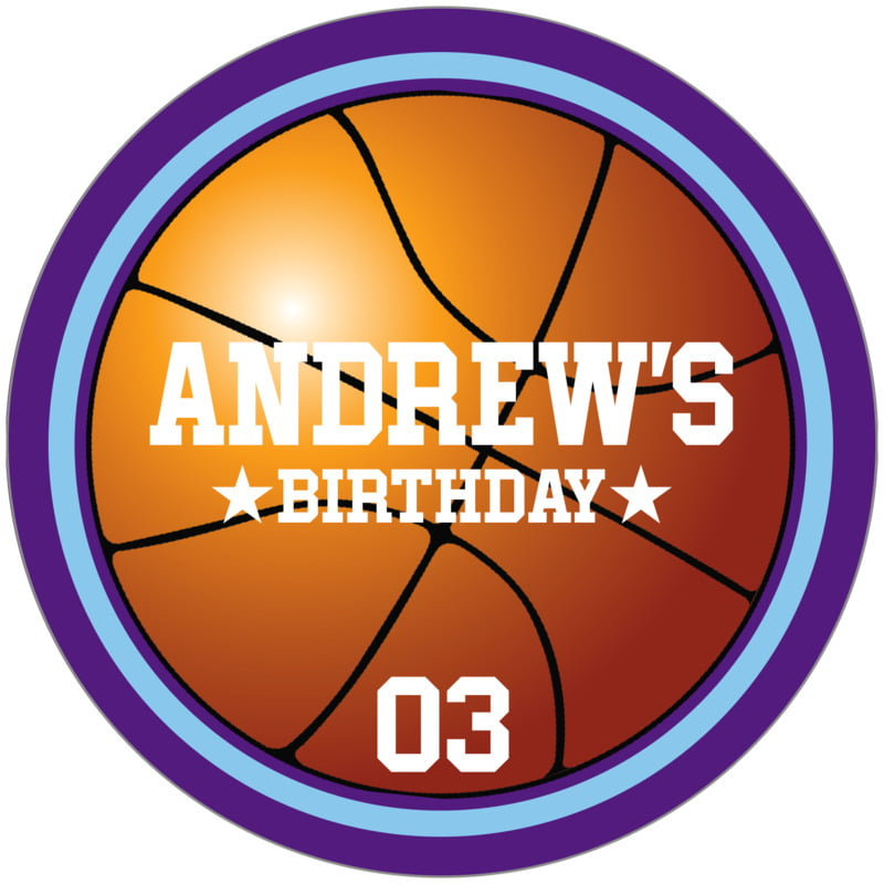 circle food/craft labels - light blue & purple - basketball (set of 12)