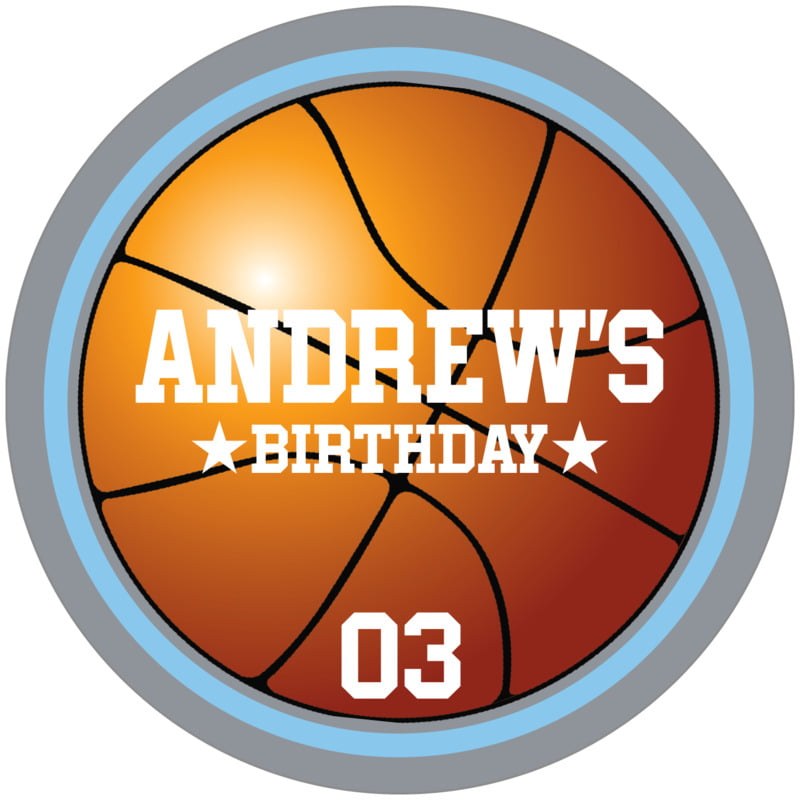 circle food/craft labels - light blue & silver - basketball (set of 12)
