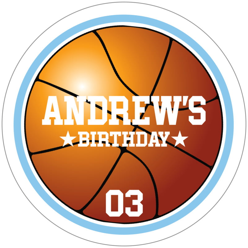 circle food/craft labels - light blue & white - basketball (set of 12)