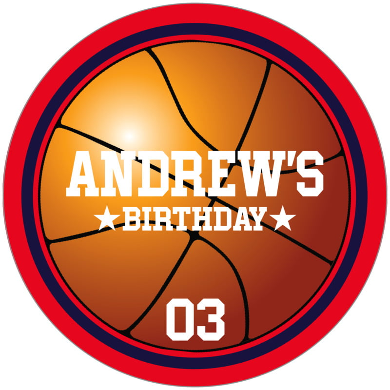 circle food/craft labels - navy & red - basketball (set of 12)