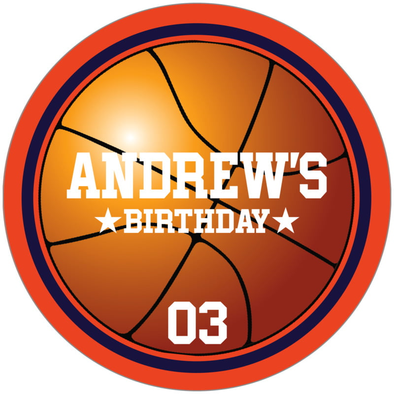 circle food/craft labels - navy & orange - basketball (set of 12)