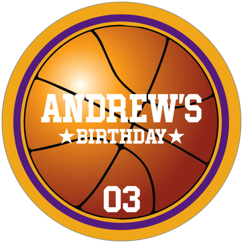 circle food/craft labels - purple & gold - basketball (set of 12)