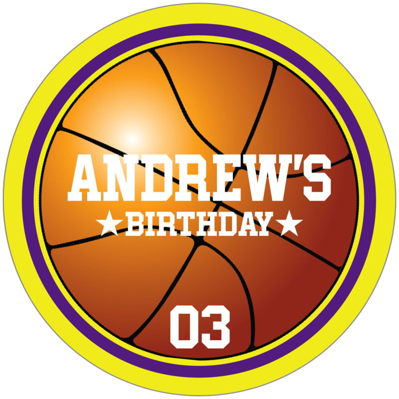 circle food/craft labels - purple & yellow - basketball (set of 12)