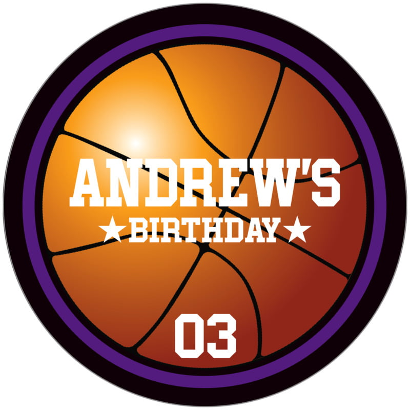 circle food/craft labels - purple & black - basketball (set of 12)