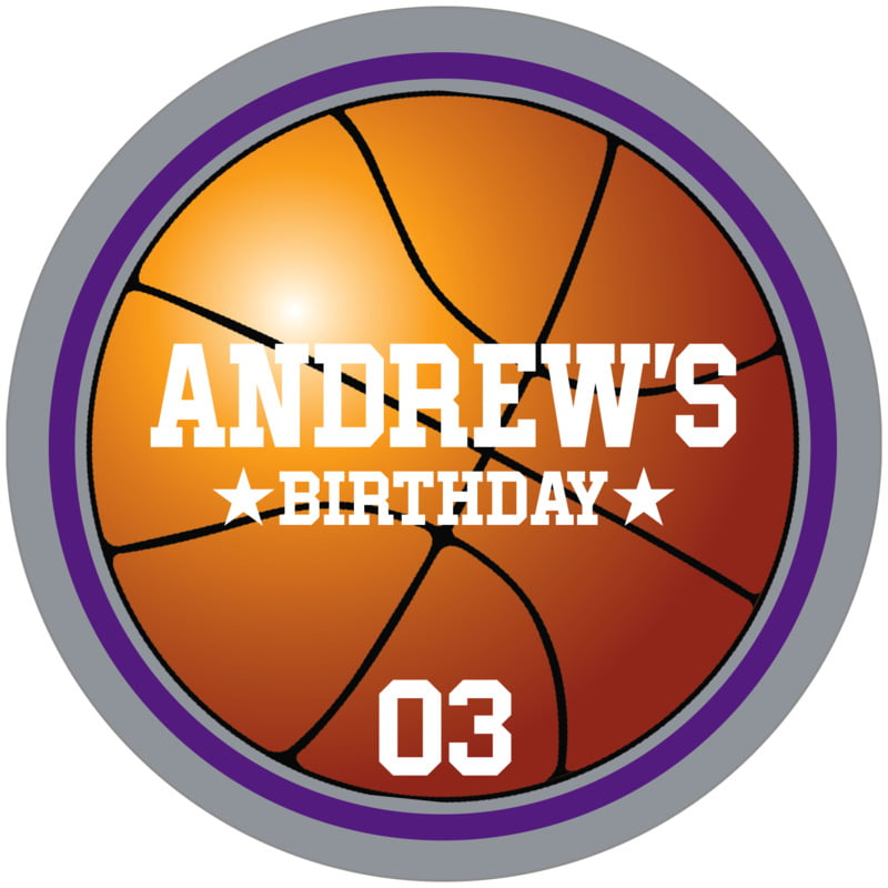 circle food/craft labels - purple & silver - basketball (set of 12)