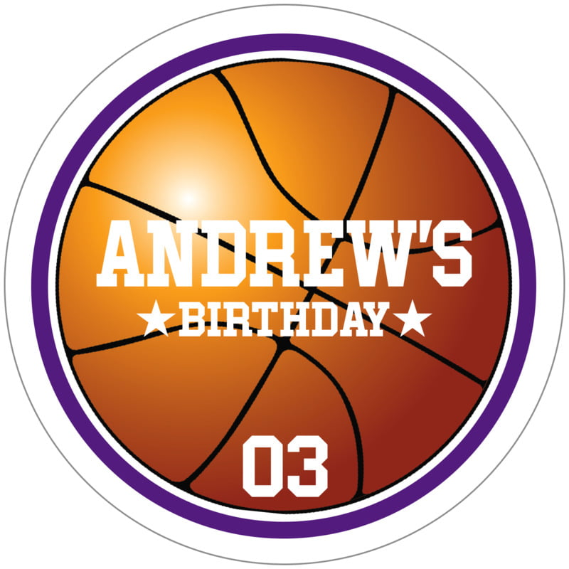 circle food/craft labels - purple & white - basketball (set of 12)