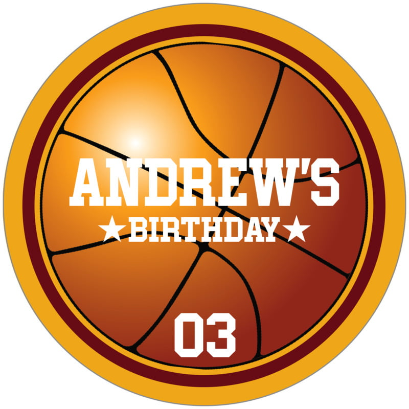 circle food/craft labels - maroon & gold - basketball (set of 12)