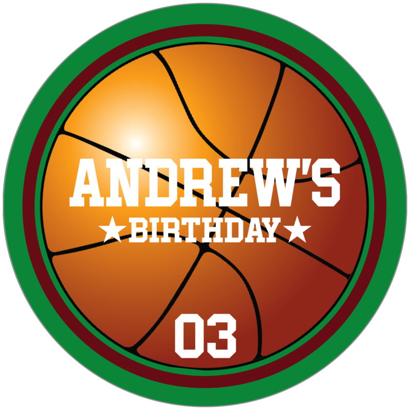 circle food/craft labels - maroon & green - basketball (set of 12)