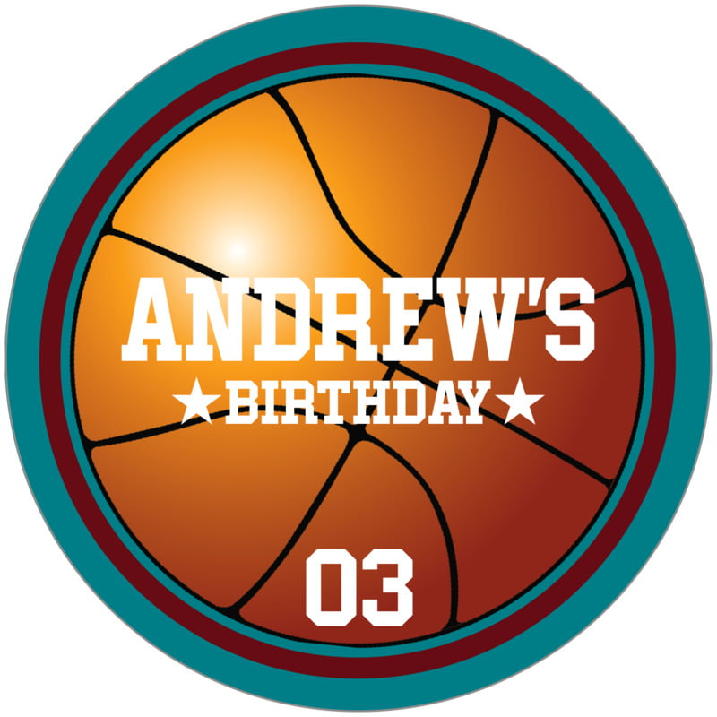 circle food/craft labels - maroon & teal - basketball (set of 12)