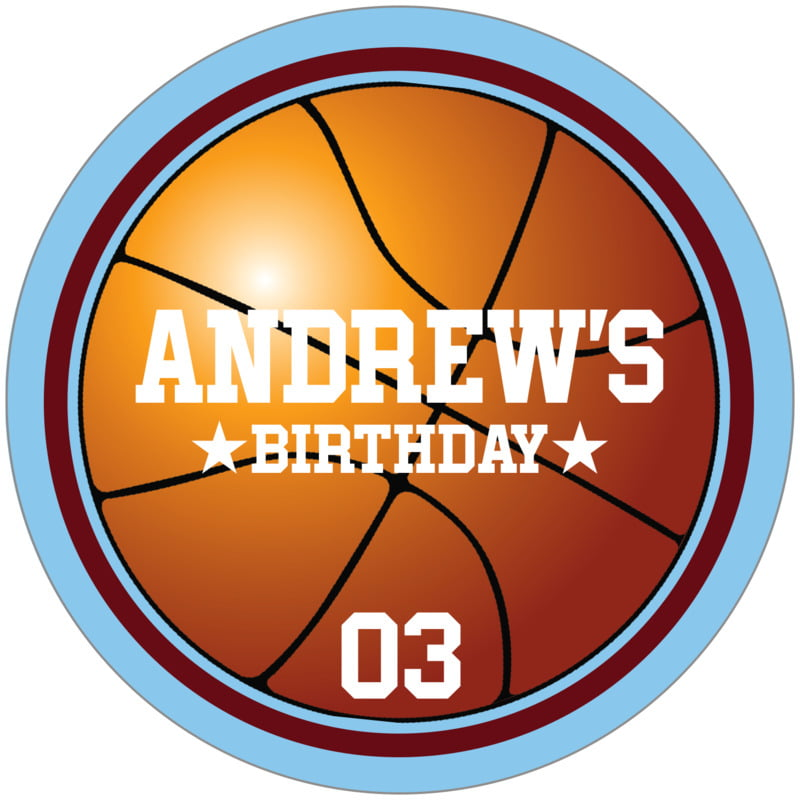 circle food/craft labels - maroon & light blue - basketball (set of 12)