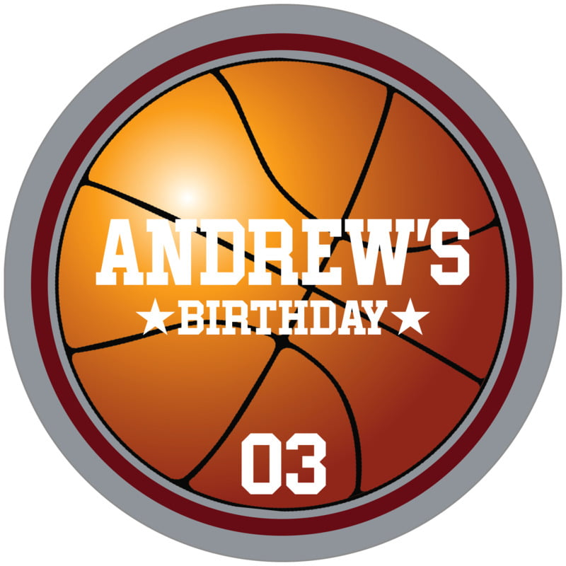 circle food/craft labels - maroon & silver - basketball (set of 12)