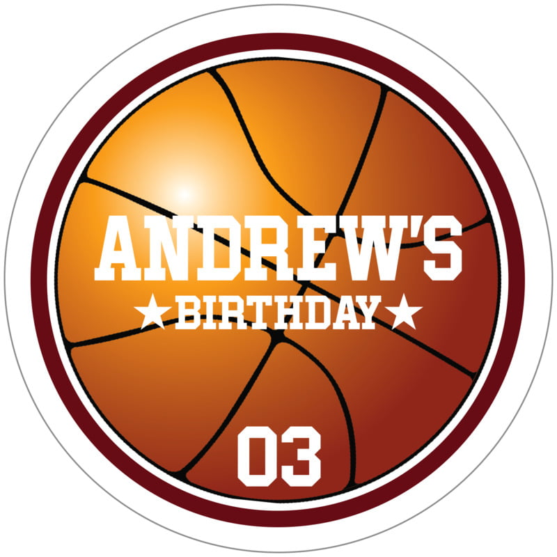 circle food/craft labels - maroon & white - basketball (set of 12)