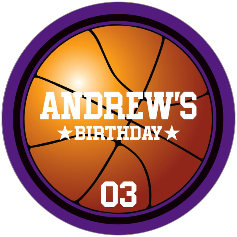 circle food/craft labels - black & purple - basketball (set of 12)