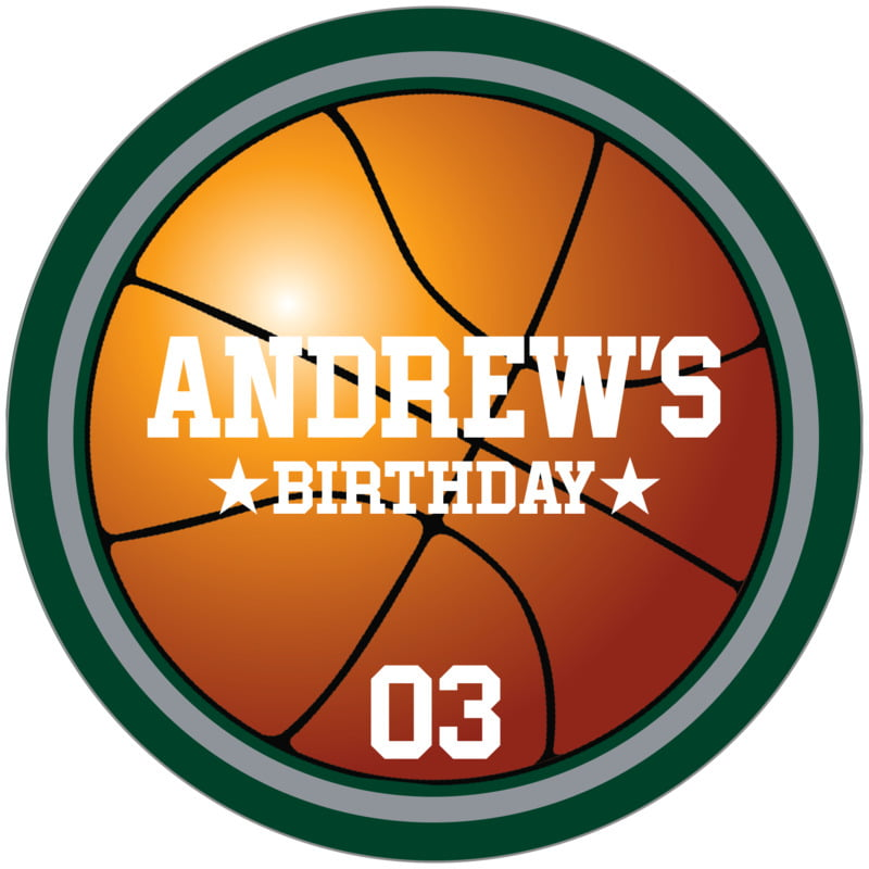 circle food/craft labels - silver & forest - basketball (set of 12)