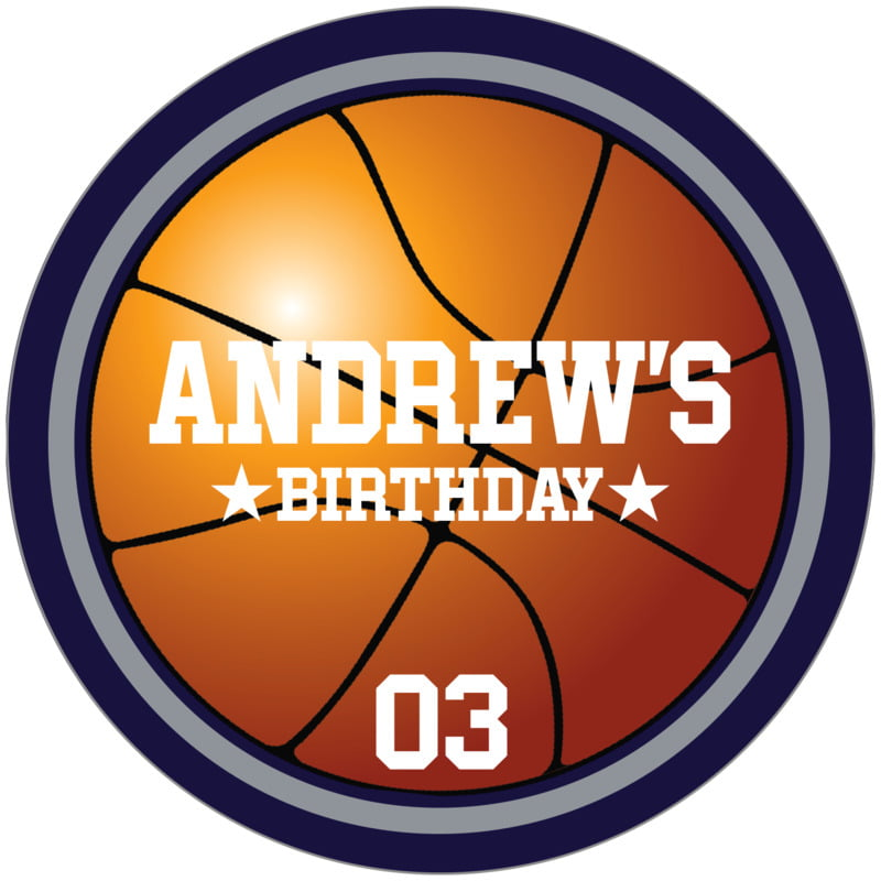 circle food/craft labels - silver & navy - basketball (set of 12)