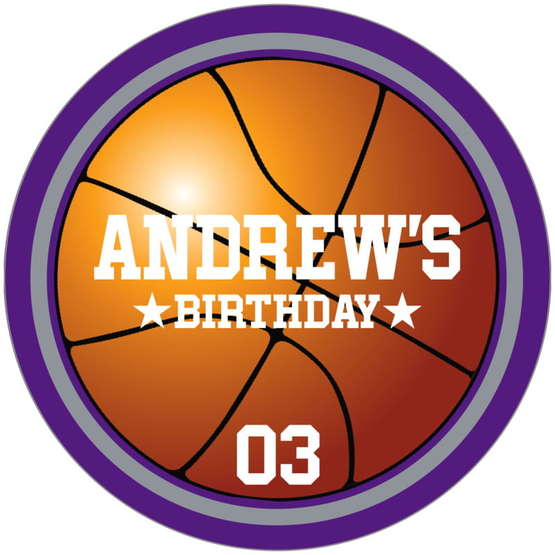 circle food/craft labels - silver & purple - basketball (set of 12)