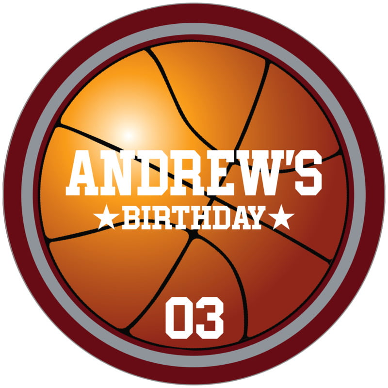 circle food/craft labels - silver & maroon - basketball (set of 12)