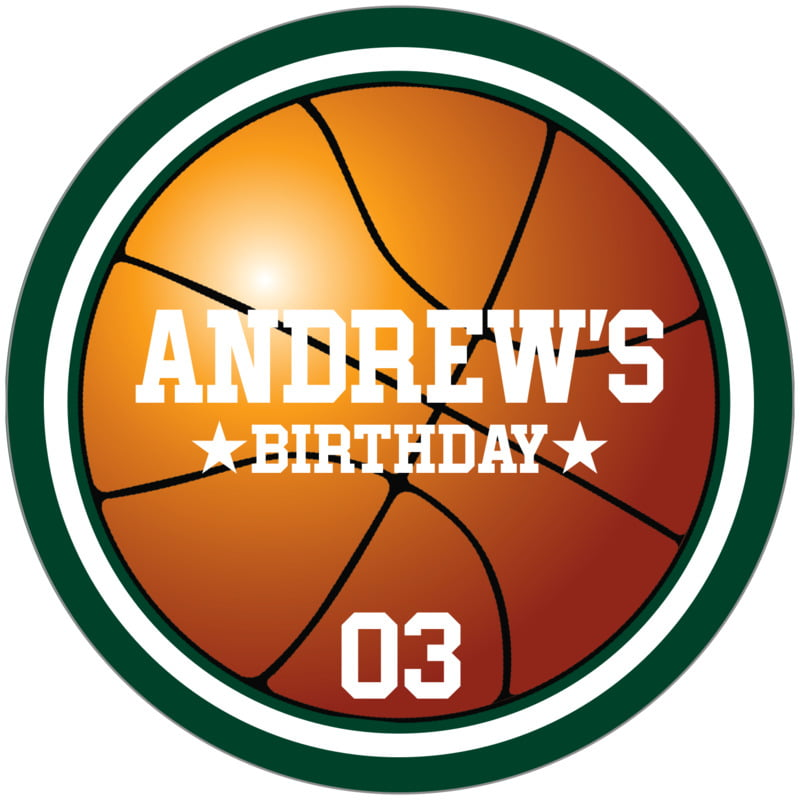 circle food/craft labels - white & forest - basketball (set of 12)