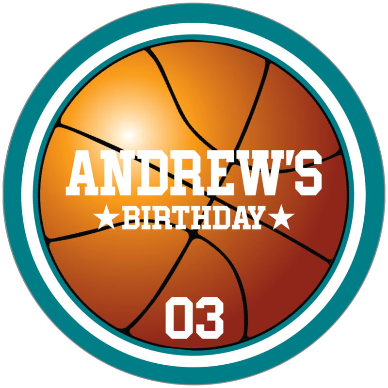 circle food/craft labels - white & teal - basketball (set of 12)