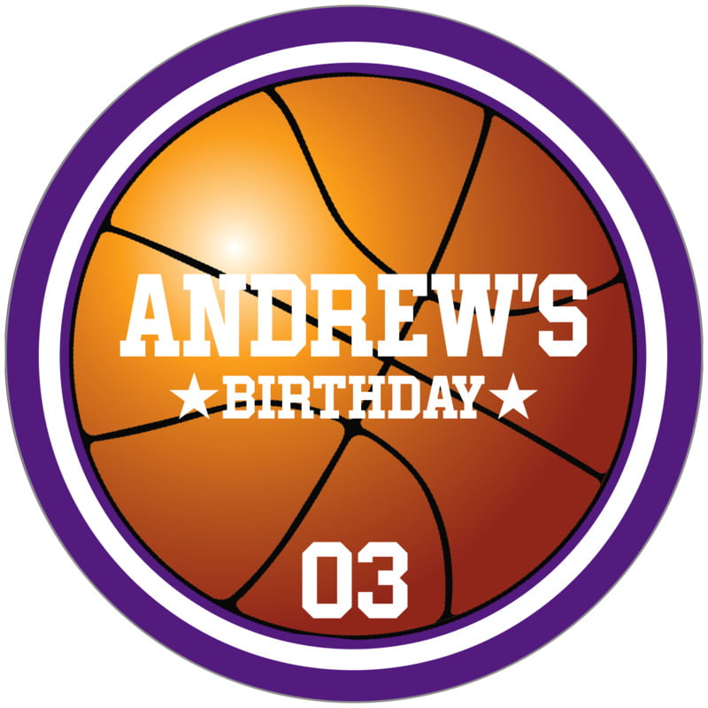 circle food/craft labels - white & purple - basketball (set of 12)