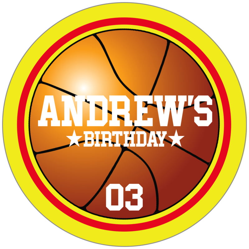 circle food/craft labels - red & yellow - basketball (set of 20)