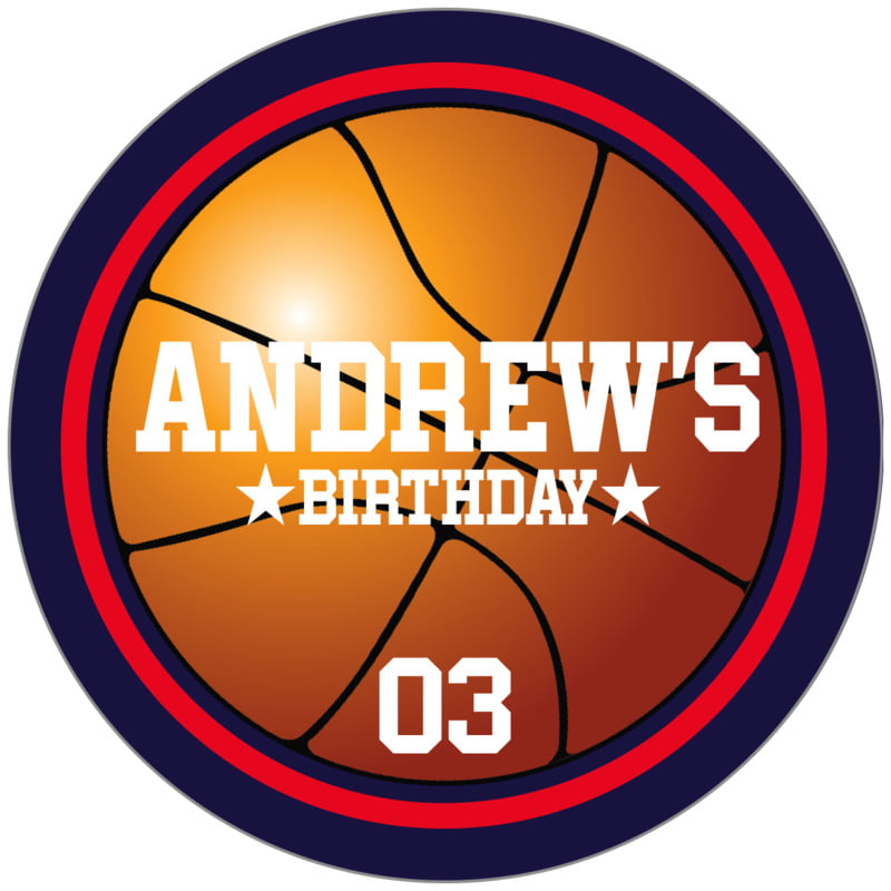 circle food/craft labels - red & navy - basketball (set of 20)