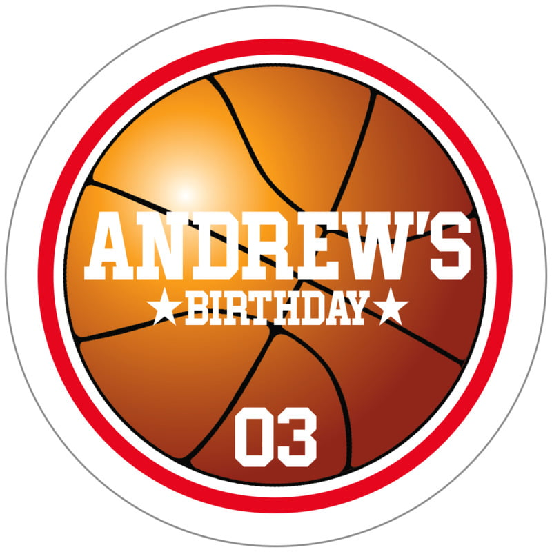 circle food/craft labels - red & white - basketball (set of 20)