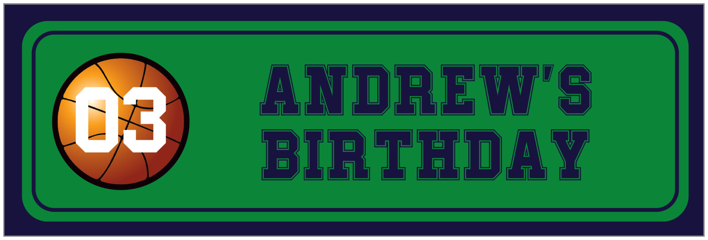wide food/craft labels - green & navy - basketball (set of 14)