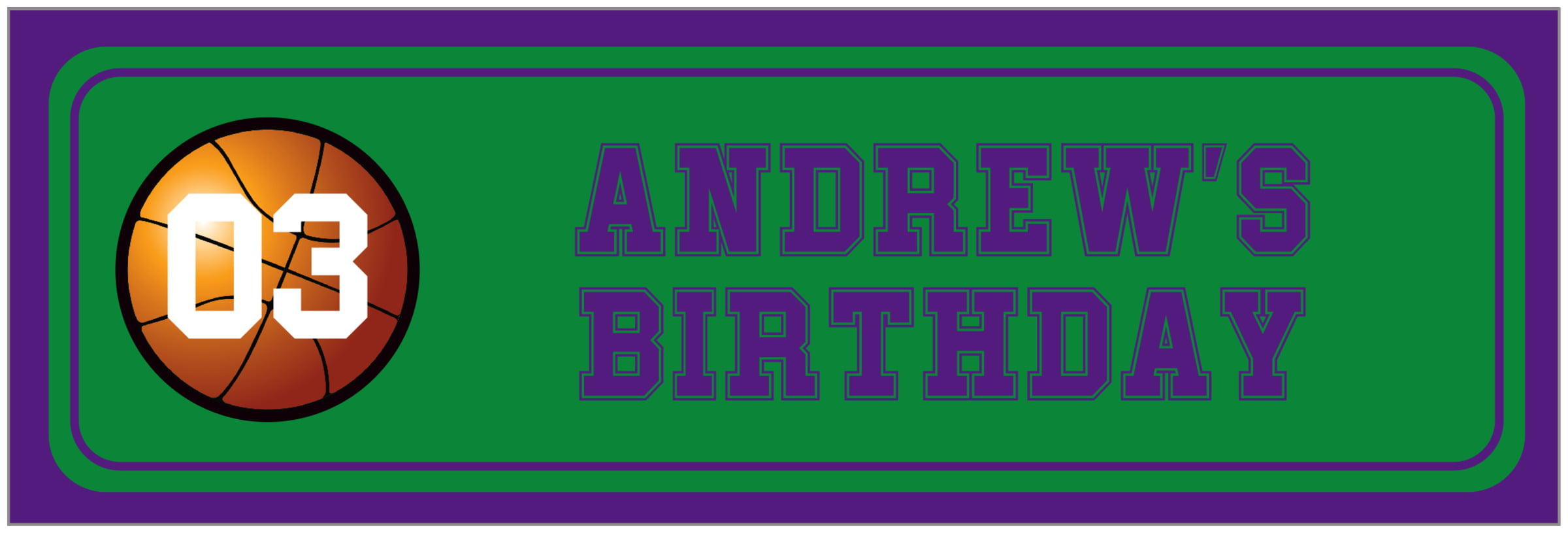 wide food/craft labels - green & purple - basketball (set of 14)