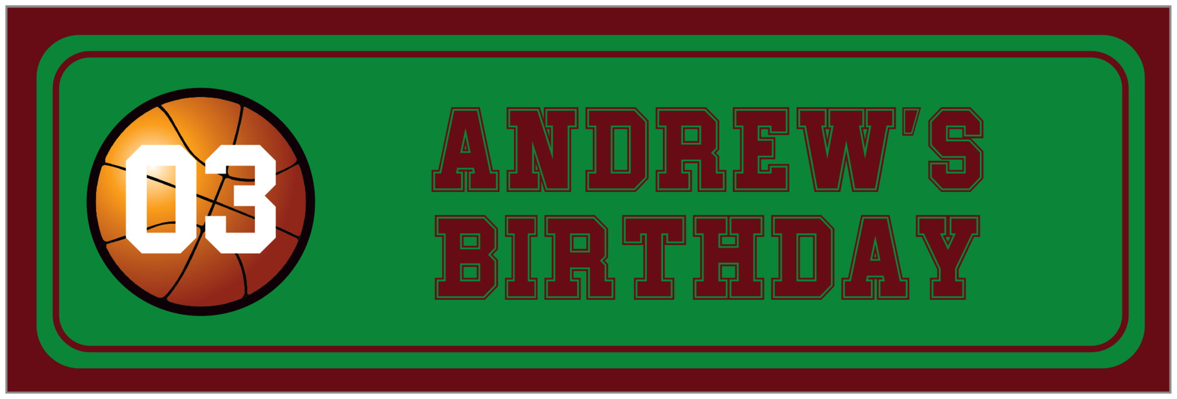 wide food/craft labels - green & maroon - basketball (set of 14)