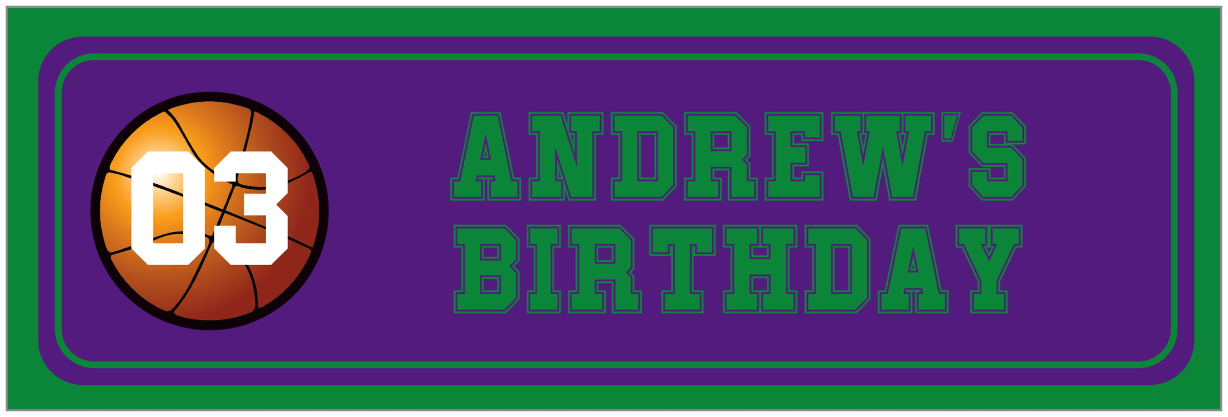 wide food/craft labels - purple & green - basketball (set of 14)