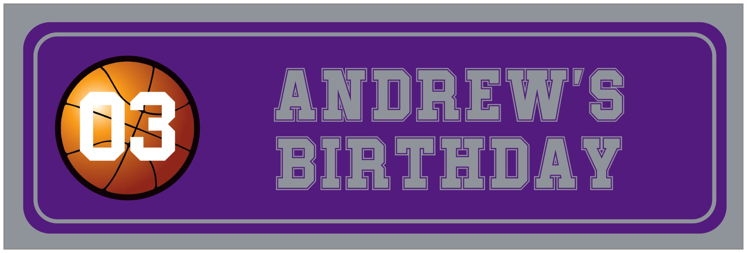 wide food/craft labels - purple & silver - basketball (set of 14)