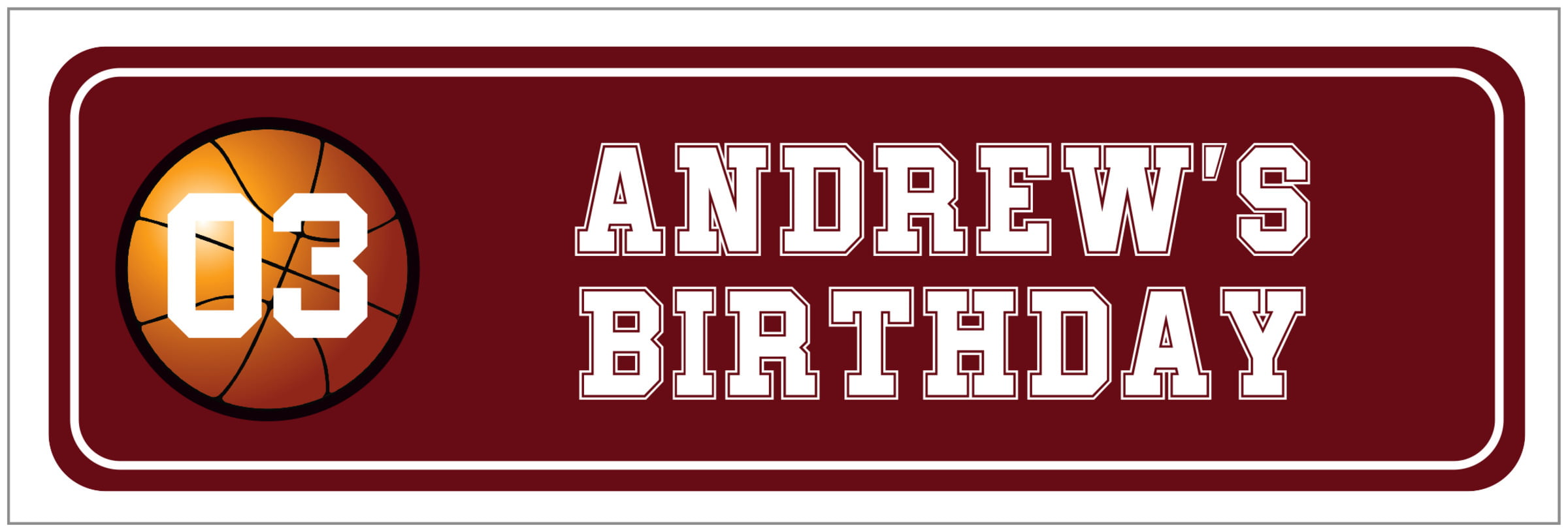 wide food/craft labels - maroon & white - basketball (set of 14)