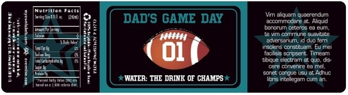 Football Bottled Water Label In Black & Teal