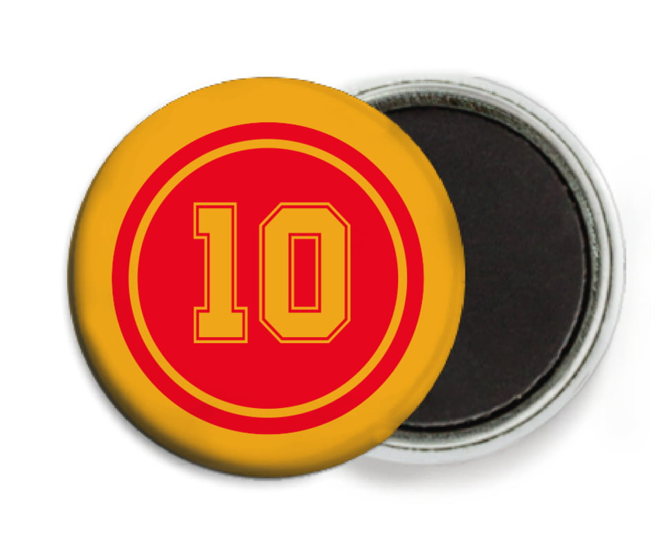 custom button magnets - red & gold - football (set of 6)