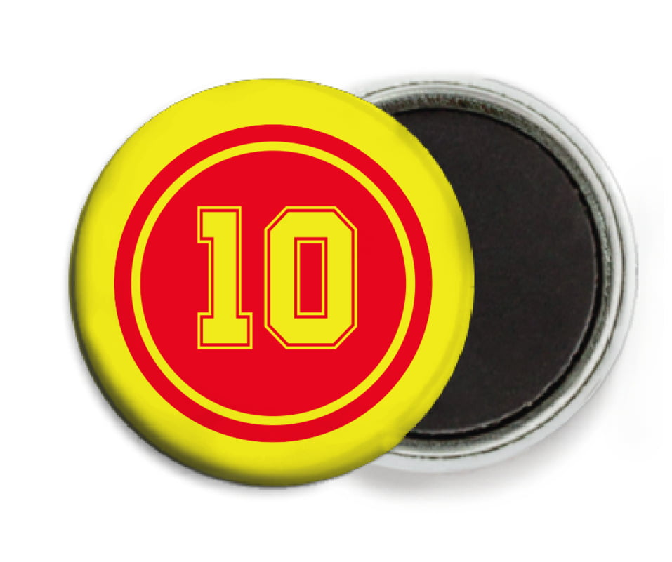 custom button magnets - red & yellow - football (set of 6)