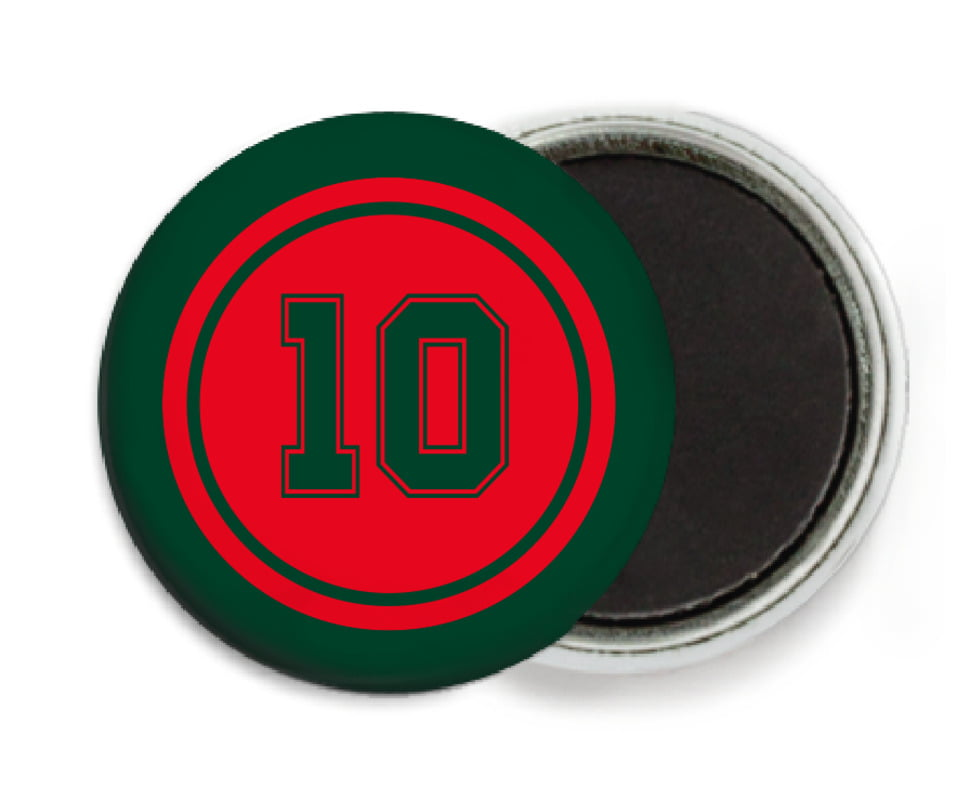 custom button magnets - red & forest - football (set of 6)