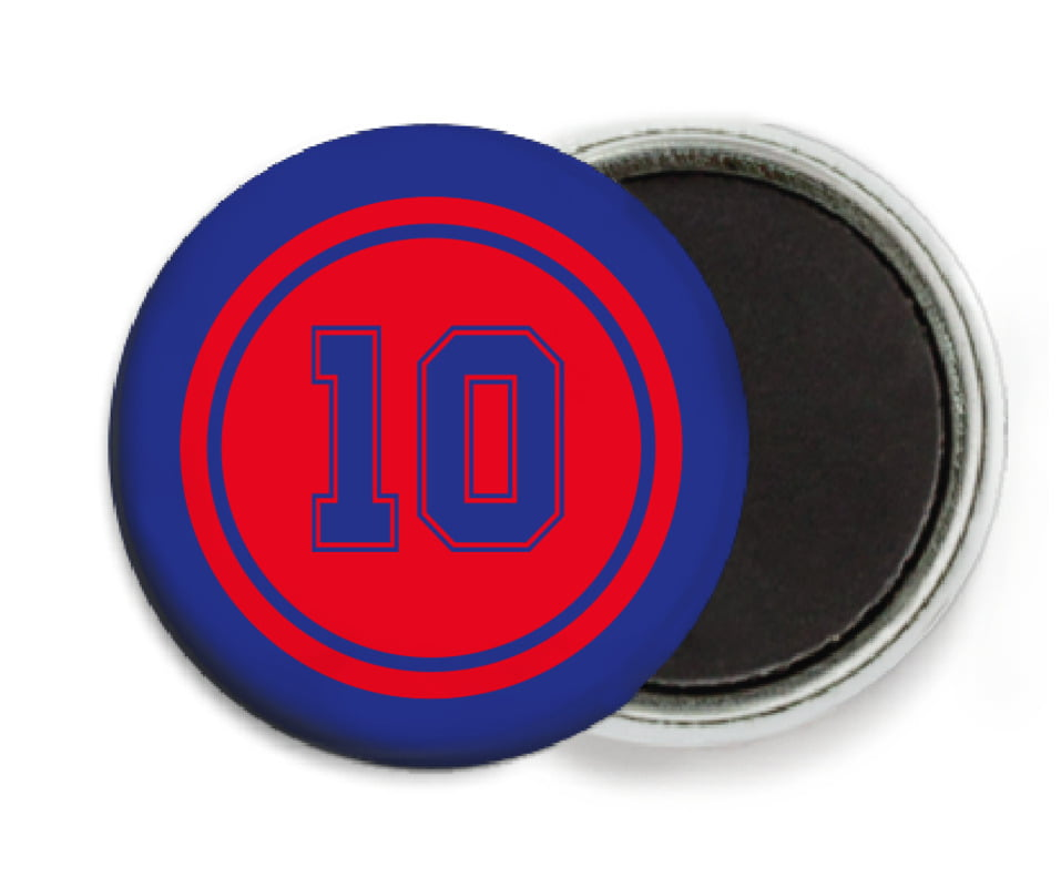 custom button magnets - red & royal - football (set of 6)