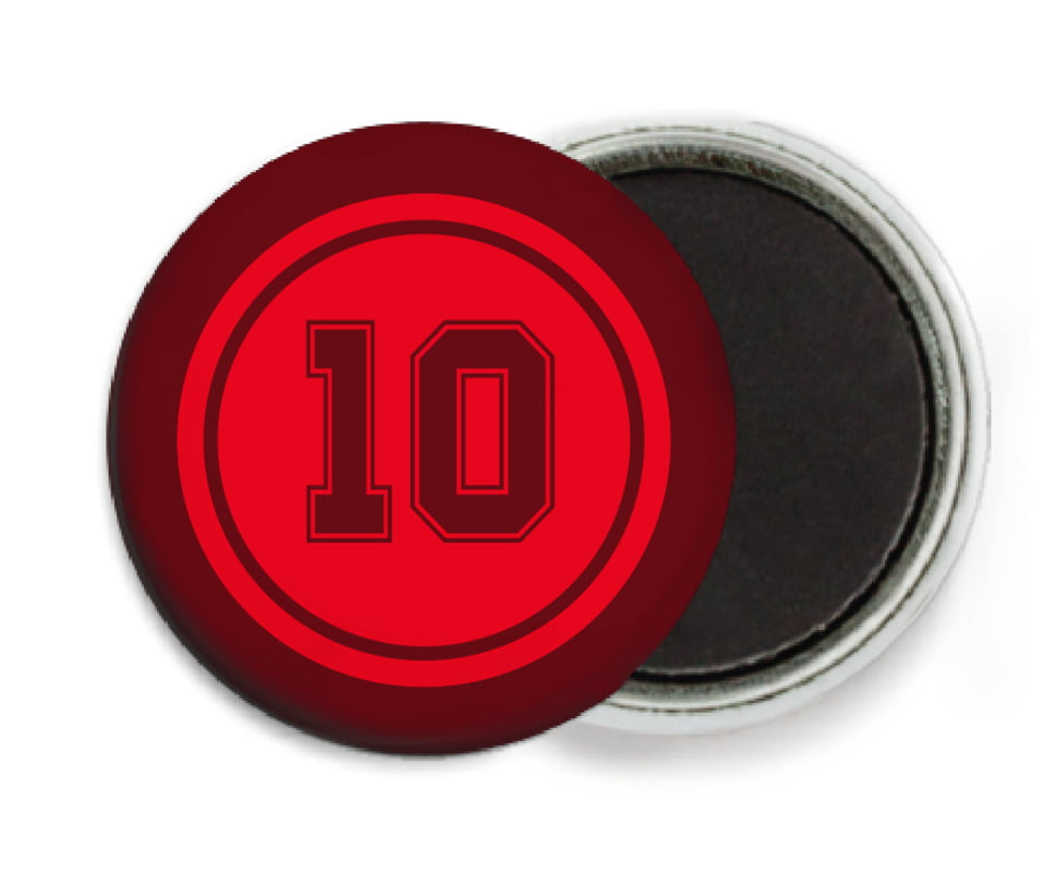 custom button magnets - red & maroon - football (set of 6)