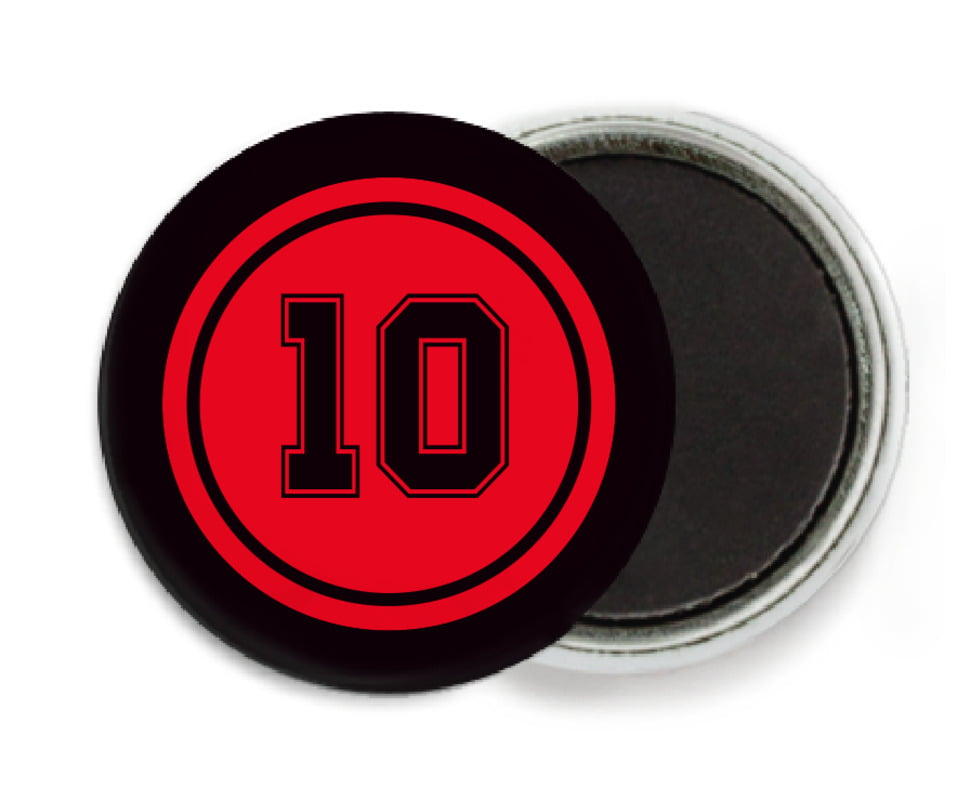 custom button magnets - red & black - football (set of 6)
